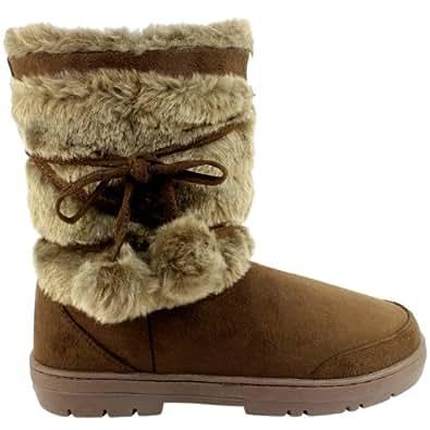 Damen Stiefel Fashion Fell Boots - Dunkelbraun - 41
