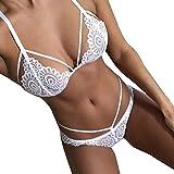 Ensemble de Lingerie, Manadlian Femmes lingerie brodée nuisette nuit vêtements de nuit costume (S, blanc)