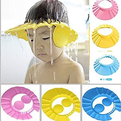 New Adjustable Safe Soft Bathing Baby Shower Cap Wash Hair for Children Baby Eye Ear Protector Adjustable Leaves Shape Bathing Shower/Shamoo Cap Hat Pack of 1 by Kitchen Point