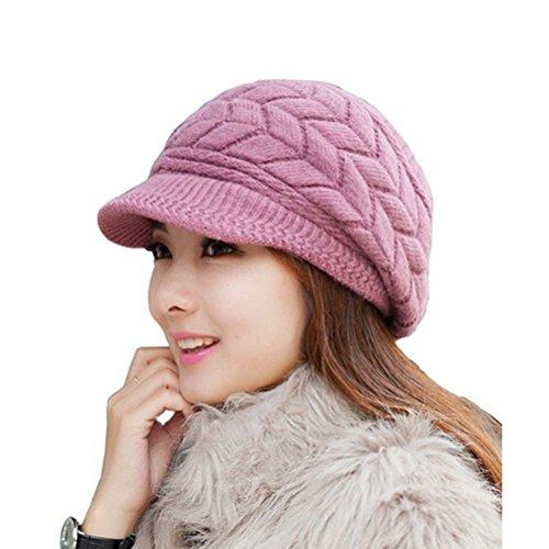 Gorro de invierno de Leorx de lana, para mujer, con visera morado morado