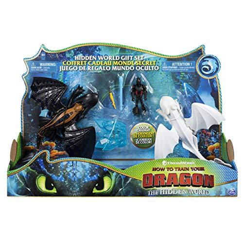 Dragons Il Mondo Nascosto - Set Regalo Mondo Nascosto, Personaggi Draghi Sdentato, Furia Bianca e Vichingo con Accessorio di Cristallo, per Bambini dai 4 Anni in su