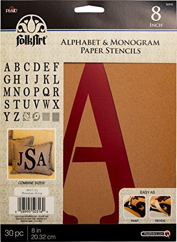 Plaid Pla50316 Pochoir Folk-art papier lettres de l'alphabet et Monogramme Serif, 20,3 cm