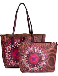 styleBREAKER Ethno Blumen Muster Handtaschen Set, Shopper Tasche und Umhängetasche, Damen 02012055
