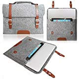 Love My Case hellgrau 33.78 cm, 33.02 cm Filz Laptop Schutzhülle/Tragetasche mit Griff für Sony VAIO Duo 13 x und LMC Reinigungstuch