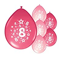 Partyangels 10 x 8th BIRTHDAY GIRL/AGE 8 GIRL PINK AND LIGHT PINK MIX PARTY BALLOONS(PA)