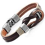 Cuero auténtico nudo náutico oscuro pulsera de plata de color marrón con nuevas Cierres seguros para él y ella, unisex, 20cm