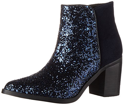 Buffalo London Damen 15B66-3 Cow Suede Glitter Stiefel, Mehrfarbig (NAVY168), 40 EU