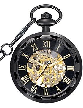 Antique Hand Winding Skelett Mechanische Taschenuhr für Männer (Schwarz)