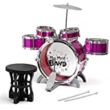 Barodian's Music Jazz Drum Set Big Size Musical Drum Set With 5 Drums, Cymbal And Chair Musical Toy Pink