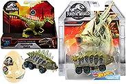 Hot Wheels Savage Jurassic World Stegosaurus Dinosaur Vehicle Bundled with Dino Rivals Velociraptor Charlie St