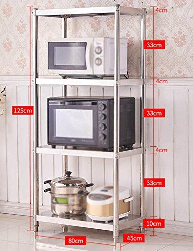 HWF Etagères de cuisine Four à micro-ondes Ensemble de cuisine en acier inoxydable (taille : 125 * 80 * 45cm)