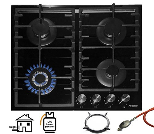 Phönix PG-603T Einbau Gaskochfeld Glas Kochfeld Gaskocher 4 flammig Propan-/ Erdgas inkl. Guss Wok-Aufsatz