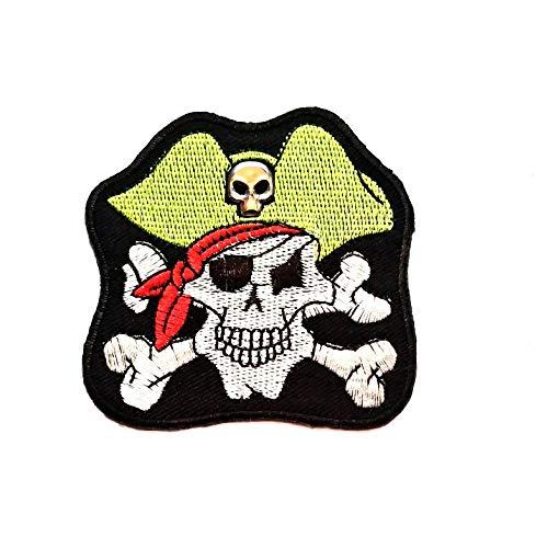 Totenkopf Captain Pirat mit grünem Hut Patch Totenkopf Kreuz Knochen Cartoon Patch Weste Jacke Biker Motorrad Rider Biker Tattoo Jacke T-Shirt Aufnäher Aufbügler ()