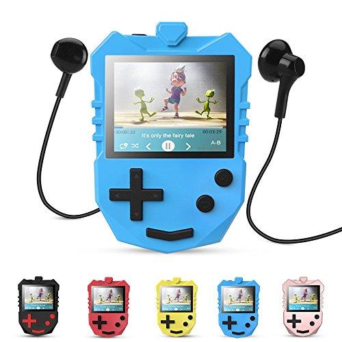 APGTEK 8 GB Kinder MP3 Player mit 1,8 TFT Farbbildschirm, Musik Player mit eingebautem Lautsprecher, UKW-Radio, Sprachaufnahme, Puzzle-Spiele usw. unterstüzt bis zu 128 GB Speicherkarte, Blau