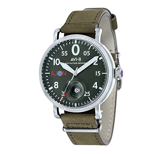 AVI-8 Men's Lancaster Bomber Special Edition Quartz Watch with Green Dial and Green Leather Strap AV-4049-01