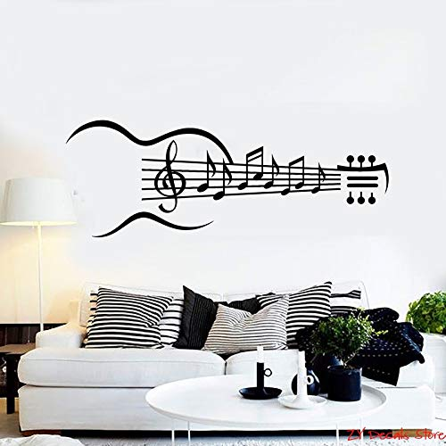 Music Notes Vinyl Wandtattoo Gitarre Musikinstrument Music Notes Wandaufkleber Abnehmbare Kunstwandbild Tapete Für Schlafzimmer 56X150CM