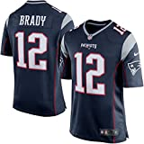 12 Tom Brady Trikot New England Patriots Jersey American Football Trikot Mens Blue Size L(44)