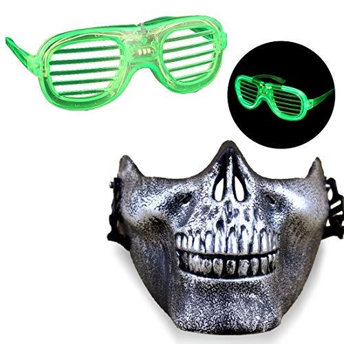 Acoser Halloween Masken LED Festival Brille Spielzeug Halbe Gesichter Horror Maske Cosplay Nachtclub Karneval Party Accessoires(Grün)