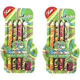 PARTEET Rainbow Swirl Pencils With Sharpener For Kids (Pack Of 2)