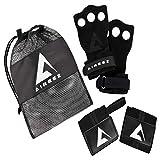 Aireez 2 in 1 Crossfit - Fitness Handschuhe & Handgelenk Bandagen Set für Damen & Herren (Schwarz/Rot-Schwarz) Rutschfest & Atmungsaktiv für Training