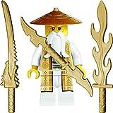 Ninjago Lego Minifigur Sensei Wu mit 3 GALAXYARMS Schwertern