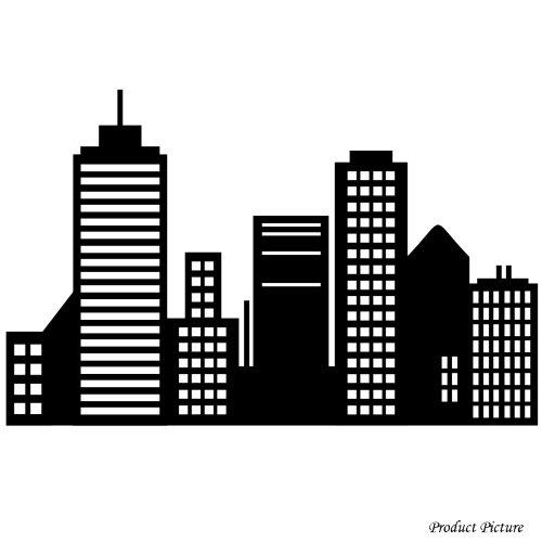 City Stadt, Gebäude, Gebäude, in der Architektur, in der städtischen Architektur, Haus, Häuser, Wohnung, Zuhause, 60 cm x 38 cm) schwarz/Badezimmer, Kinderzimmer, Kind-Raum-Aufkleber Auto Vinyl, Fenster und Wand Aufkleber, Wand Windows-Art ThatVinylPlace Wandtattoo, (Architektur Wand)