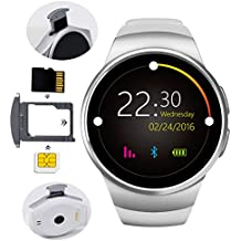 KW18 Smartwatch Sport Watch 2G Smartphone pantalla táctil BT 4,0 1,3 pulgadas de vida impermeable TF SIM apoyo IOS Android (Plata)