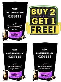 Colombian Brew - Vanilla Instant Coffee, No Sugar, Vegan - 100g Buy 2 GET 1 Free