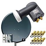 PremiumX Digital SAT Anlage 80cm ALU Schüssel Spiegel Antenne Anthrazit + PremiumX Quad LNB PXQS-SE 0,1dB für 4 Teilnehmer + 8 F-Stecker 7mm vergoldet