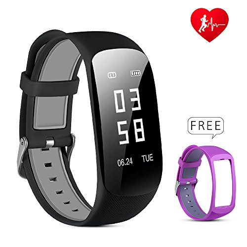 Lio SHAAR Fitness Armband Z17 Fitness Tracker Armband mit Herzfrequenz Monitor Large 0.96'' OLED Schirm IP67 Wasserdicht Sport Uhr, Bluetooth Smart Armband,für iPhone Android Handy
