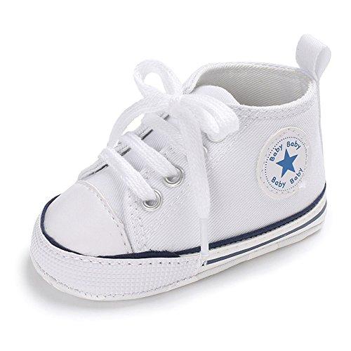 WYSBAOSHU Süße Baby-Leinwand-Turnschuh Anti Skid Weicher Netter Trainer Schuhe 3-18M (M: 6~12 Monate, Weiß) (Weiße Baby Schuhe)