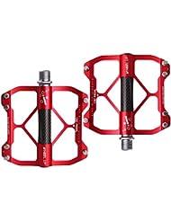 LJ deporte bicicleta pedales para Bicicleta de montaña ciclismo ultraligero de aluminio durable, rojo
