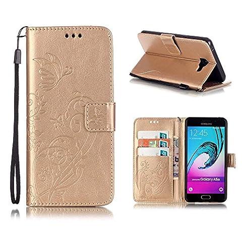 KATUMO Coque en Cuir Samsung Galaxy A5 2016, Housse de Protection Etui Rabat pour Samsung A5 2016 Pochette Etui Coque Portefeuille avec Porte-cartes-#0Or