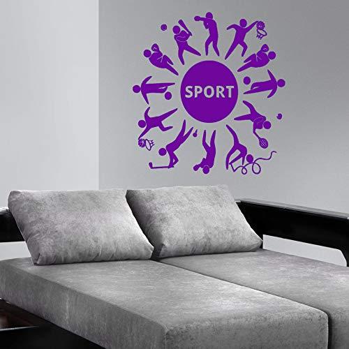 guijiumai Wandtattoo Vinyl Wandaufkleber Fußball Tennis Verschiedene Sport Wandbild Repetable Poster Y 4 85X87 cm
