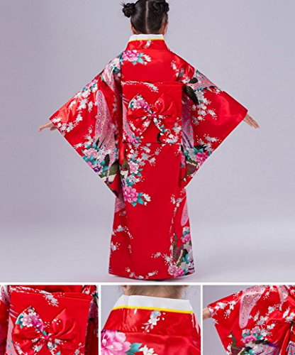 Smile YKK Kind Mädchen Geblümt Pfau Bilder Kimono Uniform Kleid Maxirock Party Kleid 140 Rot - 2
