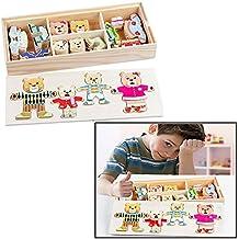 Itian Puzzle di Legno Famiglia di 4 Bear Orso Dress up Giochi di Puzzle