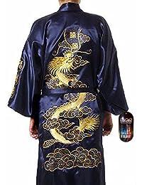 Takashi Japan - Kimono tradicional para hombre, diseño japonés con dragón bordado, color azul y dorado
