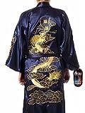 Robe de chambre kimono pour homme Motif dragon doré brodé Bleu marine Taille unique
