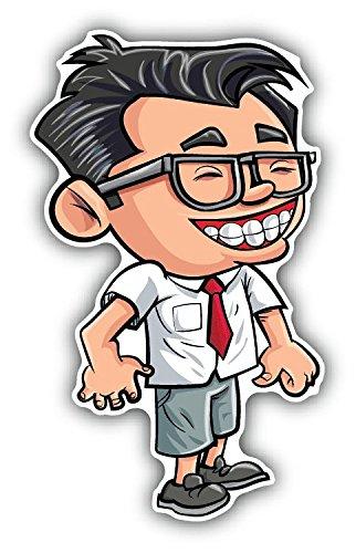 Boy Nerd Cute Cartoon Hochwertigen Auto-Autoaufkleber 8 x 15 cm