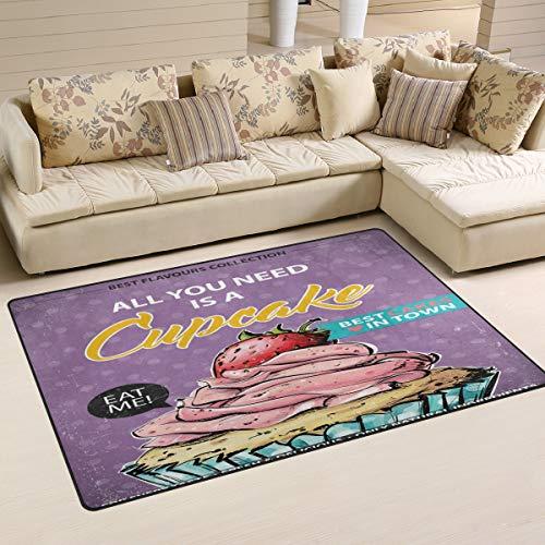 ALINLO - Alfombra Antideslizante para Interior y Exterior, diseño de Cupcakes y Fresas, para decoración...