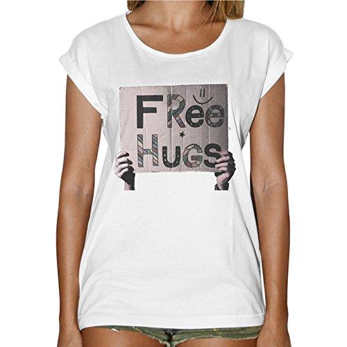 T-Shirt Donna Fashion Cartello Free Hugs Abbracci Gratis - Bianco