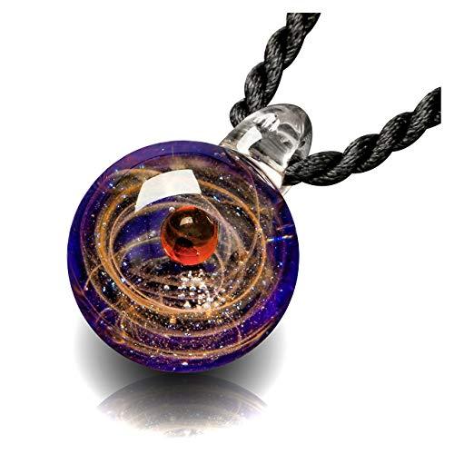 CrystalTears Fantasie Damen Herren Blogger Collier Halskette Universum Galaxie Nebel Planet Kugel Anhänger aus Lampwork Glas mit Schwarz Geflochten Hals Seil (Rot EIN Planeten)