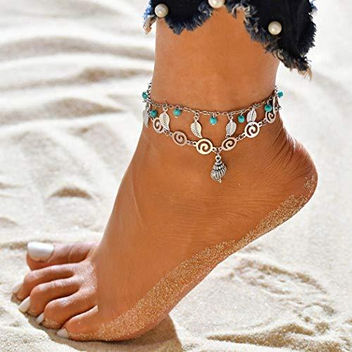 b50e6b78fdbfbb Jovono Boemia semplice bracciali argento cavigliere Turchese e foglie  multistrato cavigliera catena piede catena per donne