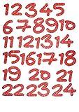 marinamalina Adventszahlen zum Aufbügeln adventskalender Zahlen bügelbild Aufkleber Hotfix Bügelbild Textilaufkleber Glitterfolie Glitzerfolie Farbe: 456 Red 24 Stück
