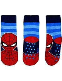 socks Calcetines Antideslizantes Spiderman Para Niño 2-7 años Algodón Rojo Negro Azul Disney Marvel