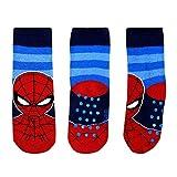 Marvel Chaussettes Antidérapantes Garçon Spiderman 2-7 Ans Coton Noir Rouge Bleu Disney Avengers (Bleu, EU 23/26)