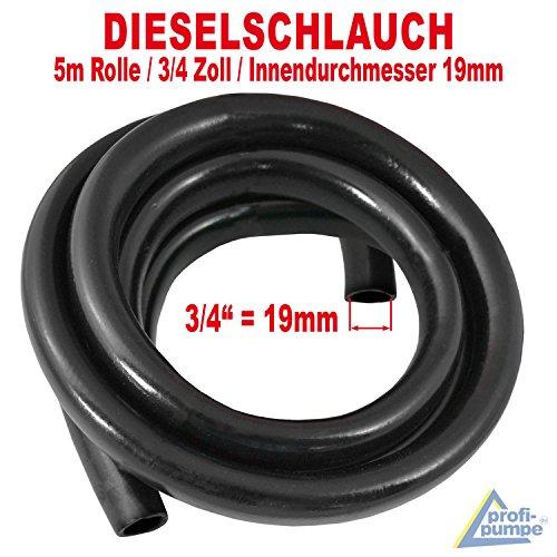 AMUR Dieselschlauch, Benzinschlauch für Dieselpumpe Heizölpumpe Biodieselpumpe Ölpumpe, Wasserpumpe, Ölschlauch Gummi- Spiralschlauch Saug-/Druckschlauch (5m Gummi Schlauch 3/4 Zoll - 19mm)