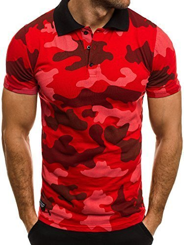Klassisches Kurzarm-polo-shirt (OZONEE Herren Herren Poloshirt Polohemd Polo T-Shirt Kurzarm Figurbetont Camouflage Athletic 1126 Rot L)