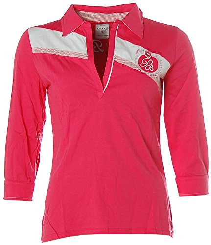 Kitaro Damen 3/4 Arm Shirt Poloshirt V-Ausschnitt Palm Beach Polo Pink