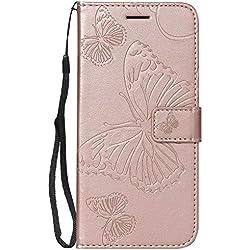 DENDICO Funda Galaxy J6 2018, Cuero Fundas para Samsung Galaxy J6 2018, Protección De Cuerpo Completo Carcasa Funda Tipo Libro de Piel con Soporte Plegable y Ranuras para Tarjetas - Oro Rosa